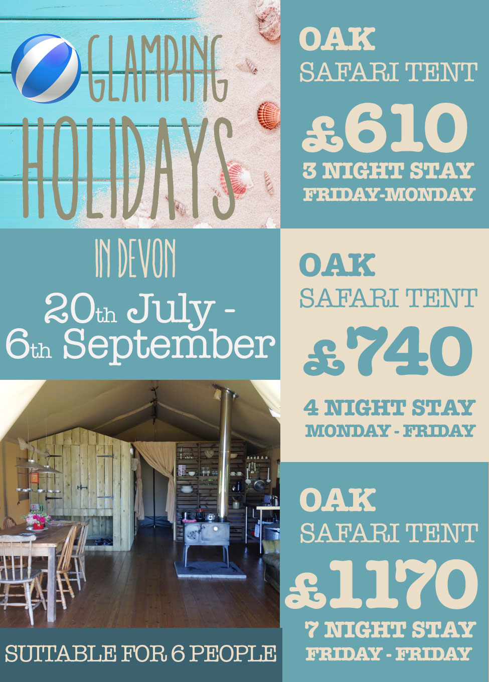 OAK SAFARI TENT SUMMER Glamping Holidays Devon